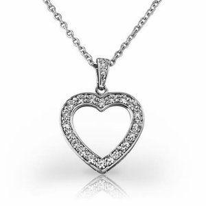 Jewelry - Heart pendant necklace 3 ct round brilliant cut di